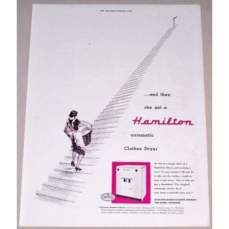 1952 Hamilton Automatic Clothes Dryer Color Print Ad