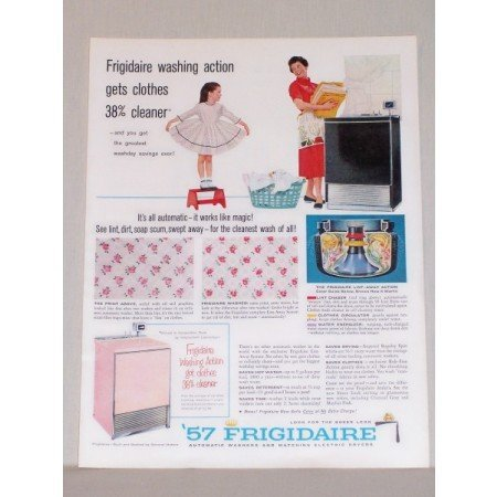 1957 Frigidaire Automatic Washer Color Print Ad - Works Like Magic