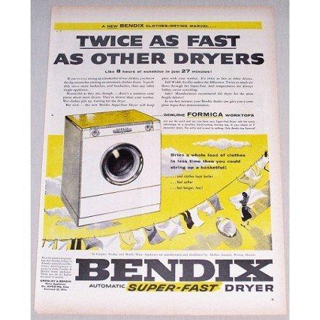 1955 Bendix Automatic Super-Fast Clothes Dryer Color Print Ad