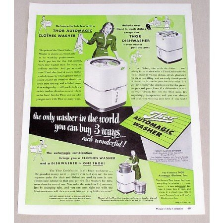 1947 Thor Automatic Washer Color Print Ad - Buy 3 Ways