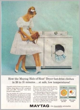 1960 Maytag Dryer Color Print Ad - Halo Of Heat