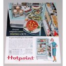 1956 Hotpoint Refrigerator Color Print Ad - Swing Out Shelves