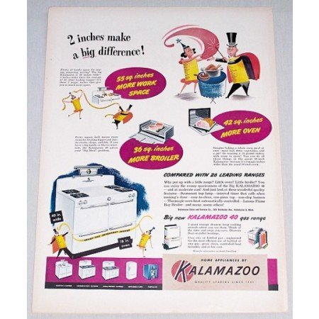 1948 Kalamazoo 40 Gas Range Color Print Ad - Big Difference