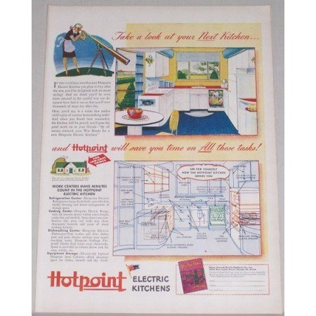 1944 Hotpoint Electric Kitchens Color Print Ad - Next Kitchen