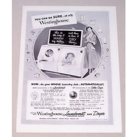 1949 Westinghouse Electric Washer Dryer Vintage Print Ad