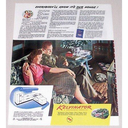 1945 Kelvinator Post War Kitchens Color Print Wartime Ad