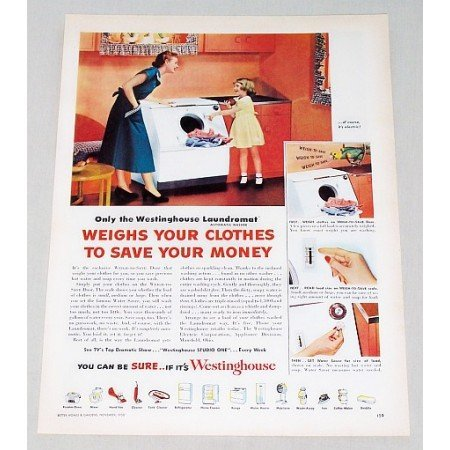 1950 Westinghouse Laundromat Electric Washer Color Print Ad