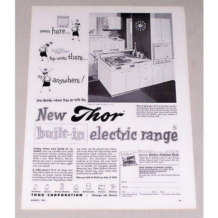 1953 Thor Built-In Electric Range Vintage Print Ad