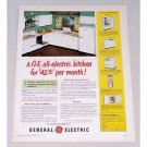 1950 General Electric All-Electric Kitchen Color Print Ad