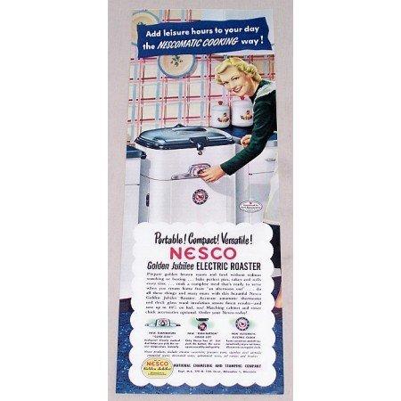 1949 Nesco Golden Jubilee Electric Roaster Color Print Ad