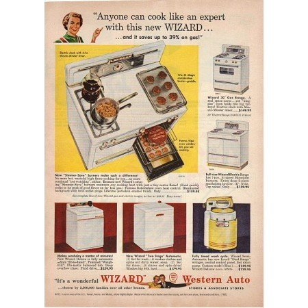 1955 Western Auto Wizard Kitchen Range Color Print Ad