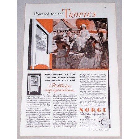 1932 Norge Rollator Refrigerator Color Print Ad - The Tropics