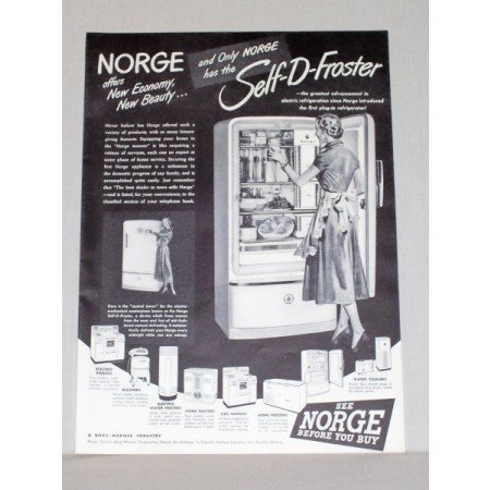 1948 Norge Self-D-Froster Refrigerator Vintage Print Ad - New Beauty