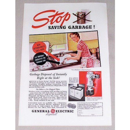 1937 General Electric Garbage Disposal Color Print Ad
