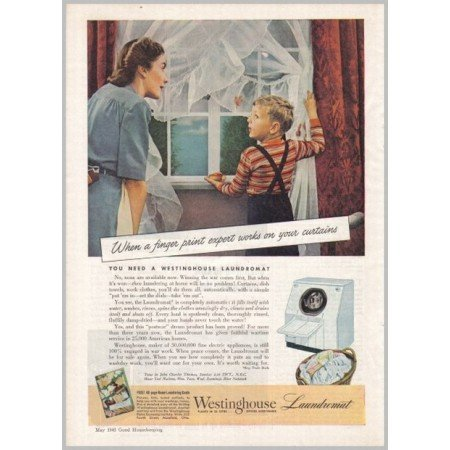 1945 Westinghouse Laundromat Washer Color Print Ad