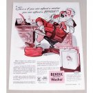 1947 Bendix Automatic Washer Santa Claus Christmas Art Color Print Ad