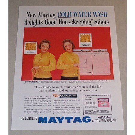 1957 Maytag All Fabric Washer No Vent Dryer Vintage Color Print Ad