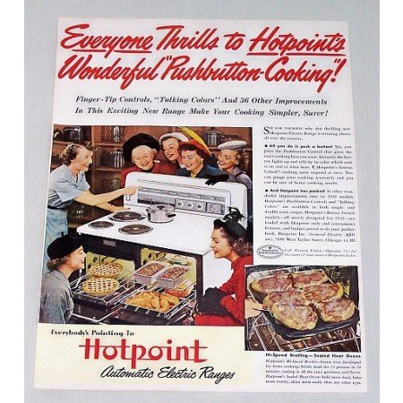 1949 Hotpoint Automatic Push Button Electric Range Color Print Ad