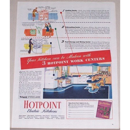 1945 Hotpoint Electric Kitchens Work Centers Color Print Ad
