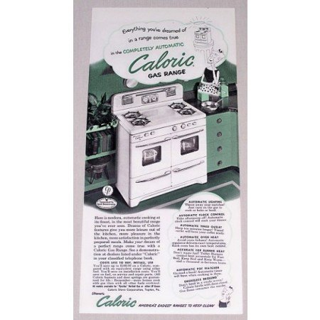 1952 Automatic Caloric Gas Range Color Print Ad