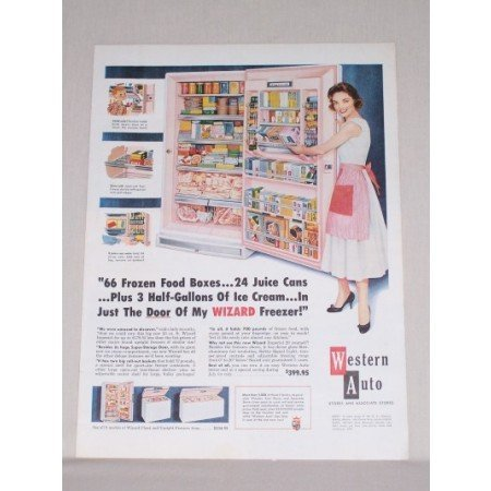 1958 Western Auto Wizard Imperial 20 Freezer Color Print Ad