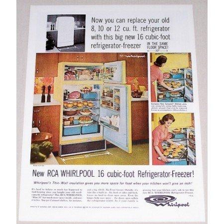 1962 RCA Whirlpool 16CF Refrigerator Freezer Color Print Ad