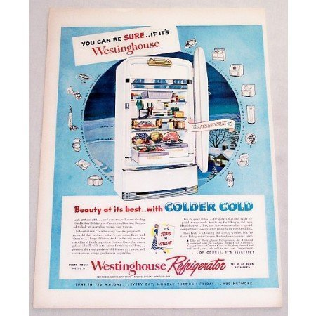 1949 Westinghouse Aristocrat 10 Refrigerator Color Print Ad