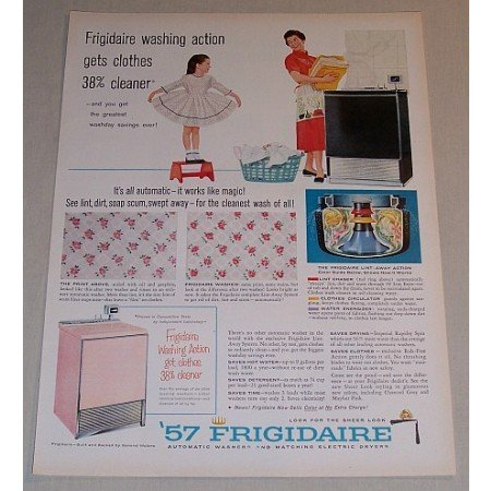 1957 Frigidaire Automatic Washer Color Print Ad