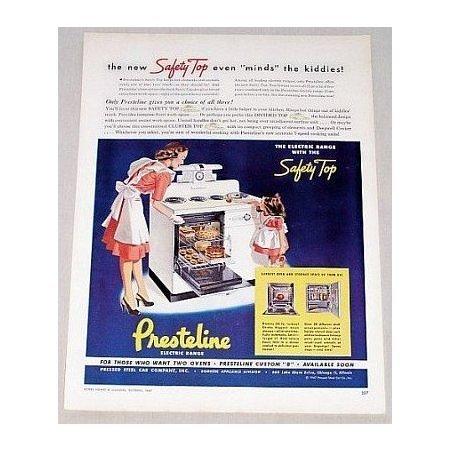 1947 Presteline Electric Range Color Print Ad
