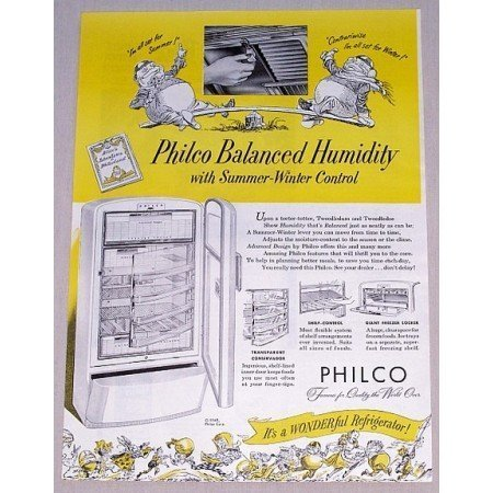 1948 Philco Advanced Design Refrigerator Color Print Ad