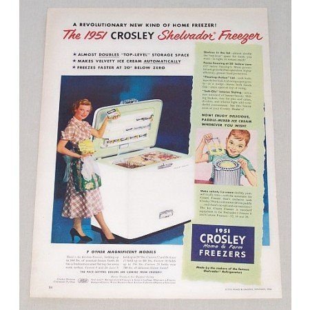 1950 Color Print Ad for 1951 Crosley Shelvador Home Freezer