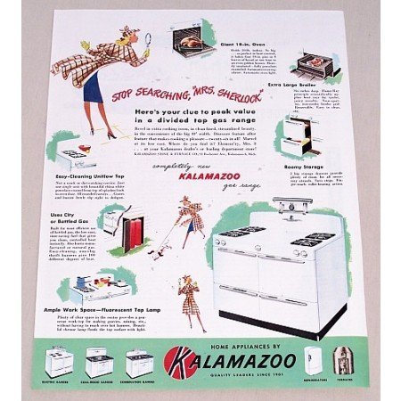 1947 Kalamazoo Gas Range Home Appliances Color Print Ad