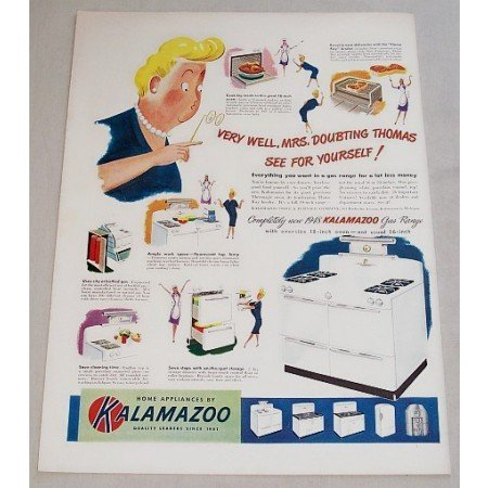 1948 Kalamazoo Gas Range Color Print Art Ad