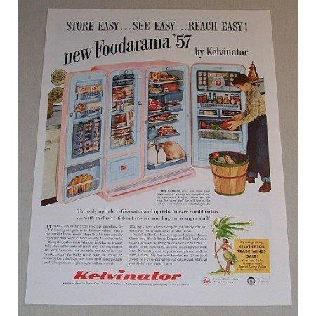 1957 Kelvinator Foodarama Side by Side Refrigerator Color Print Ad