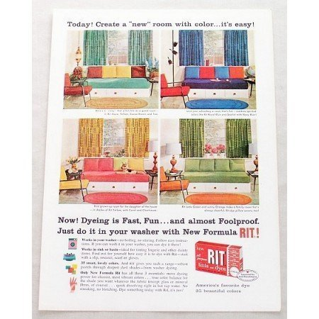 1961 Rit Tints and Dyes Color Print Ad Create A New Room