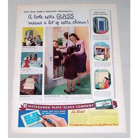 1946 Pittsburgh Plate Glass Co. Glass Door Mirror Color Print Ad