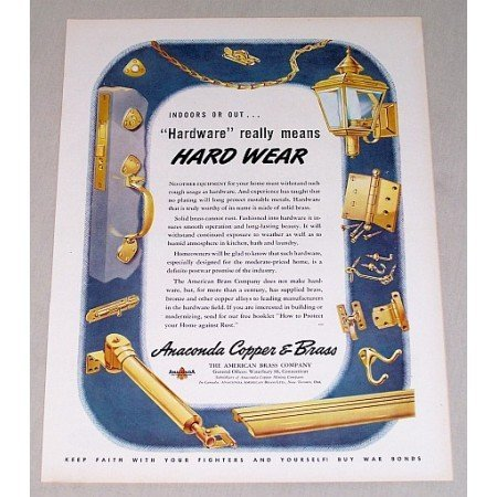1945 Anaconda Copper Brass Home Hardware Color Print Ad
