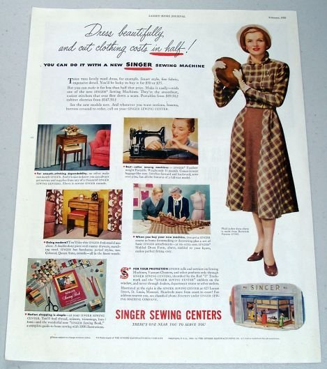 1950 Singer Sewing Centers Color Print Ad - Dress Beautifully
