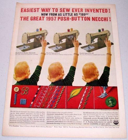 1957 Necchi Push Button Sewing Machine Color Print Ad
