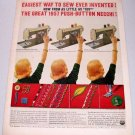 1957 Necchi Push Button Sewing Machine Color Print Ad