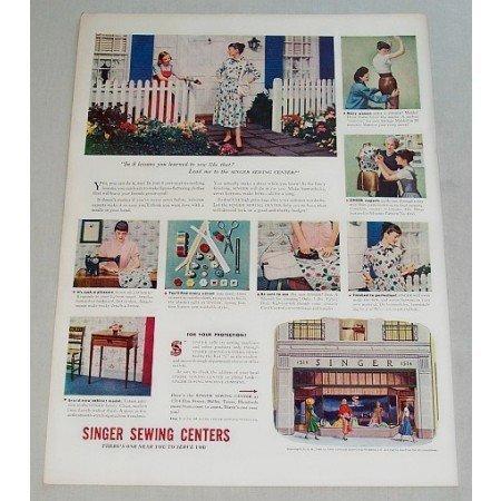 1948 Singer Sewing Center Vintage Print Color Ad 8 Lessons