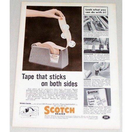1957 Scotch Brand Double Stick Tape Color Print Ad