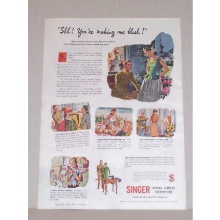 1945 Singer Sewing Centers Color Print Ad Making Me Blush