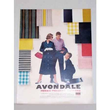 1957 Avondale Perma Pressed Cottons Vintage Print Color Ad