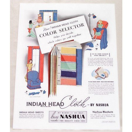 1938 Indian Head Cloth Fabric Color Print Ad
