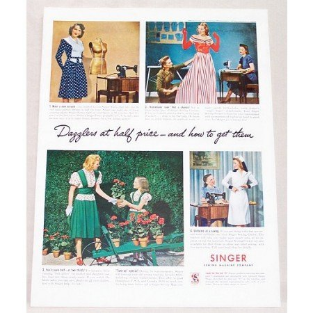 1942 Singer Sewing Center Color Print Ad Dazzlers At Half Price