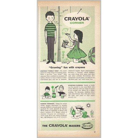 1959 Crayola Corner Vintage Print Ad - Growing Fun With Crayons