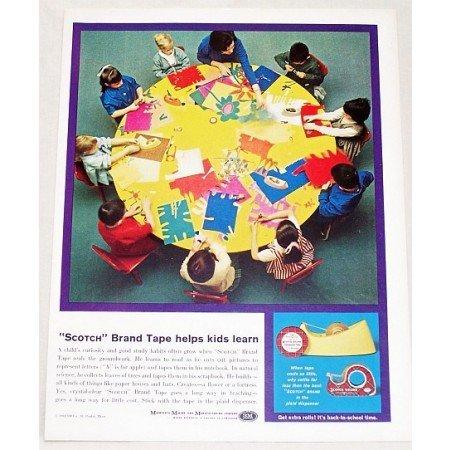 1961 Scotch Brand Transparent Tape Color Print Ad