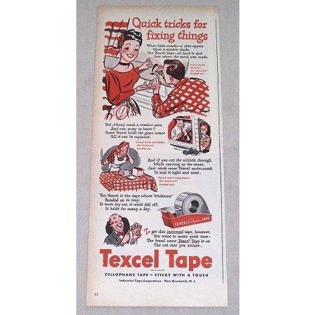 1946 Textel Cellophane Tape Color Print Art Ad - Quick Tricks
