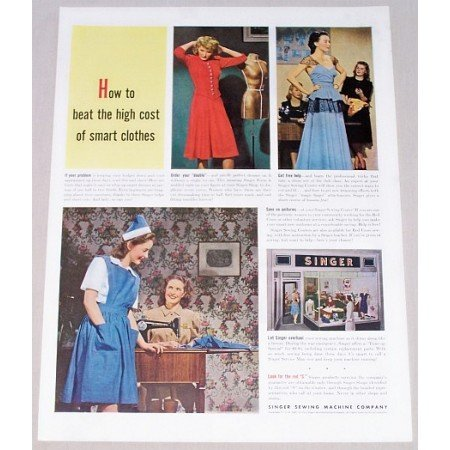 1942 Singer Sewing Machine Co. Color Print Ad - Beat The High Cost